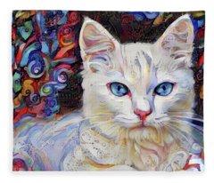 White Kitten With Blue Eyes Fleece Blanket