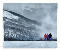 White Landscape In The Frozen Paradise In The Argentine Patagonia Fleece Blanket