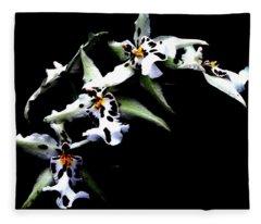 White Leopard Orchid Fleece Blanket