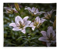White Lilies #g5 Fleece Blanket