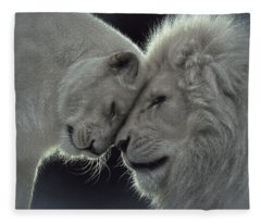 White Lion Love Fleece Blanket