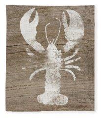White Lobster On Wood- Art By Linda Woods Fleece Blanket