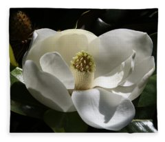 White Magnolia Flower Fleece Blanket