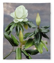 White Magnolia Tree Fleece Blanket