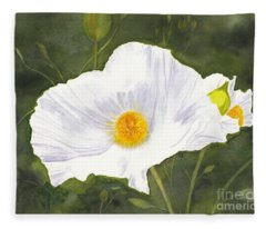 White Matilija Poppy  Fleece Blanket