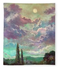 White Moon Rising Fleece Blanket