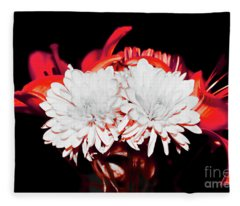 White Mums And Red Lilies Fleece Blanket