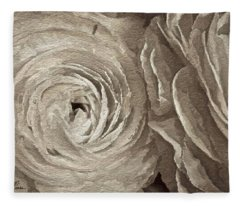 White On White Rose Fleece Blanket