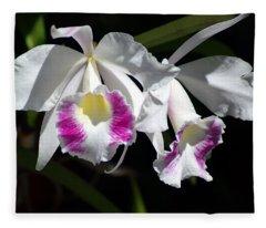 White Orchids Fleece Blanket