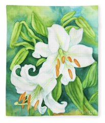 White Oriental Lilies Fleece Blanket