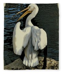 White Pelican Spread Fleece Blanket