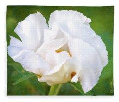 White Peony After The Rain Fleece Blanket