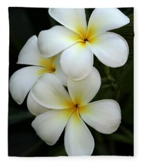White Plumeria Fleece Blanket