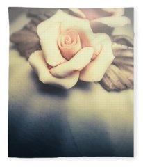 White Porcelain Rose Fleece Blanket