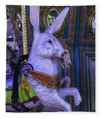White Rabbit Carrousel Ride Fleece Blanket