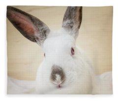 White Rabbit Closeup Fleece Blanket
