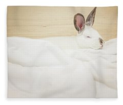 Sleeping Rabbit  Fleece Blanket