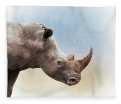 White Rhino Closeup Square Fleece Blanket