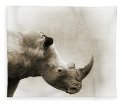 White Rhino Sepia Closeup Square Fleece Blanket