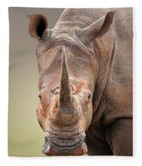 White Rhinoceros Portrait Fleece Blanket