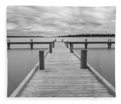 White Rock Lake Pier Black And White Fleece Blanket