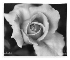 White Rose On Black Fleece Blanket