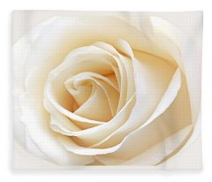 White Rose Heart Fleece Blanket