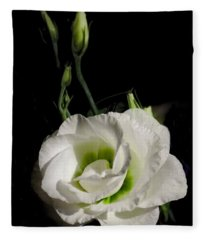 White Rose On Black Fleece Blanket