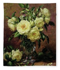 White Roses - A Gift From The Heart Fleece Blanket