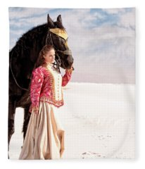 White Sands Horse And Rider #2a Fleece Blanket