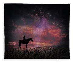 White Sands Horse And Rider #4c Fleece Blanket