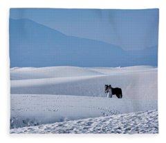White Sands Horse And Rider #5b Fleece Blanket