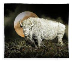 White Spirit Buffalo And Moon Fleece Blanket