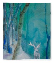 White Stag Of The Solstice Fleece Blanket
