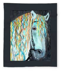 White Stallion Fleece Blanket