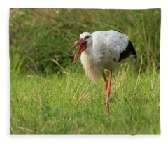 White Stork  Feeding Fleece Blanket
