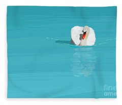 White Swan Blue Lake Fleece Blanket