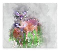 White Tail Deer In Watercolor Fleece Blanket