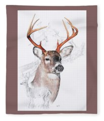 Fleece Blanket featuring the mixed media White-tailed Deer by Barbara Keith