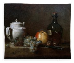 White Teapot With Grapes Apple Chestnuts Knife And Bottle Jean Baptiste Simon Chardin Fleece Blanket