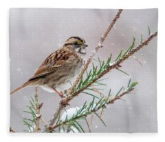 White Throated Sparrow Fleece Blanket