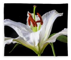 White Tiger Lily Still Life Fleece Blanket