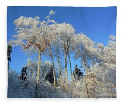 White Trees Clear Skies Fleece Blanket