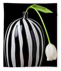 White Tulip In Striped Vase Fleece Blanket