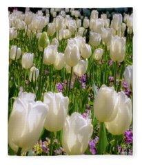 White Tulips In Bloom Fleece Blanket