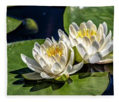 White Water Lilies Fleece Blanket