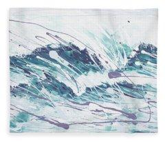 White Wave Abstract Fleece Blanket