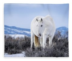White Wild Horse Mystic Of Sand Wash Basin Fleece Blanket