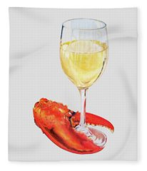 White Wine And Lobster Claw Fleece Blanket