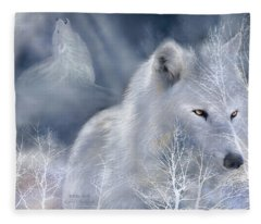 White Wolf Fleece Blanket